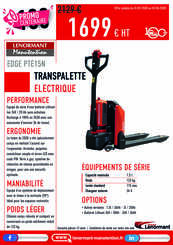 Transpalettes électriques manuels Lenormant Manutention EDGE PTE15N - 1